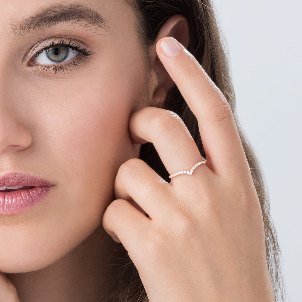 Serenity Wishbone Ring - Rose Gold Plated - 3