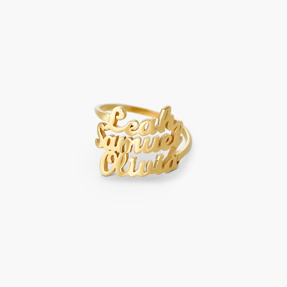 Three's a Charm Name Ring - Gold Plated