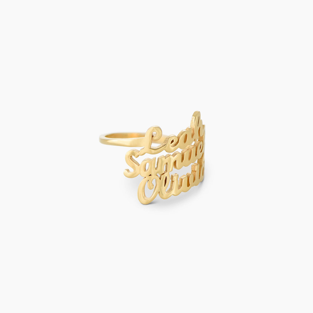 Three's a Charm Name Ring - Gold Plated - 1