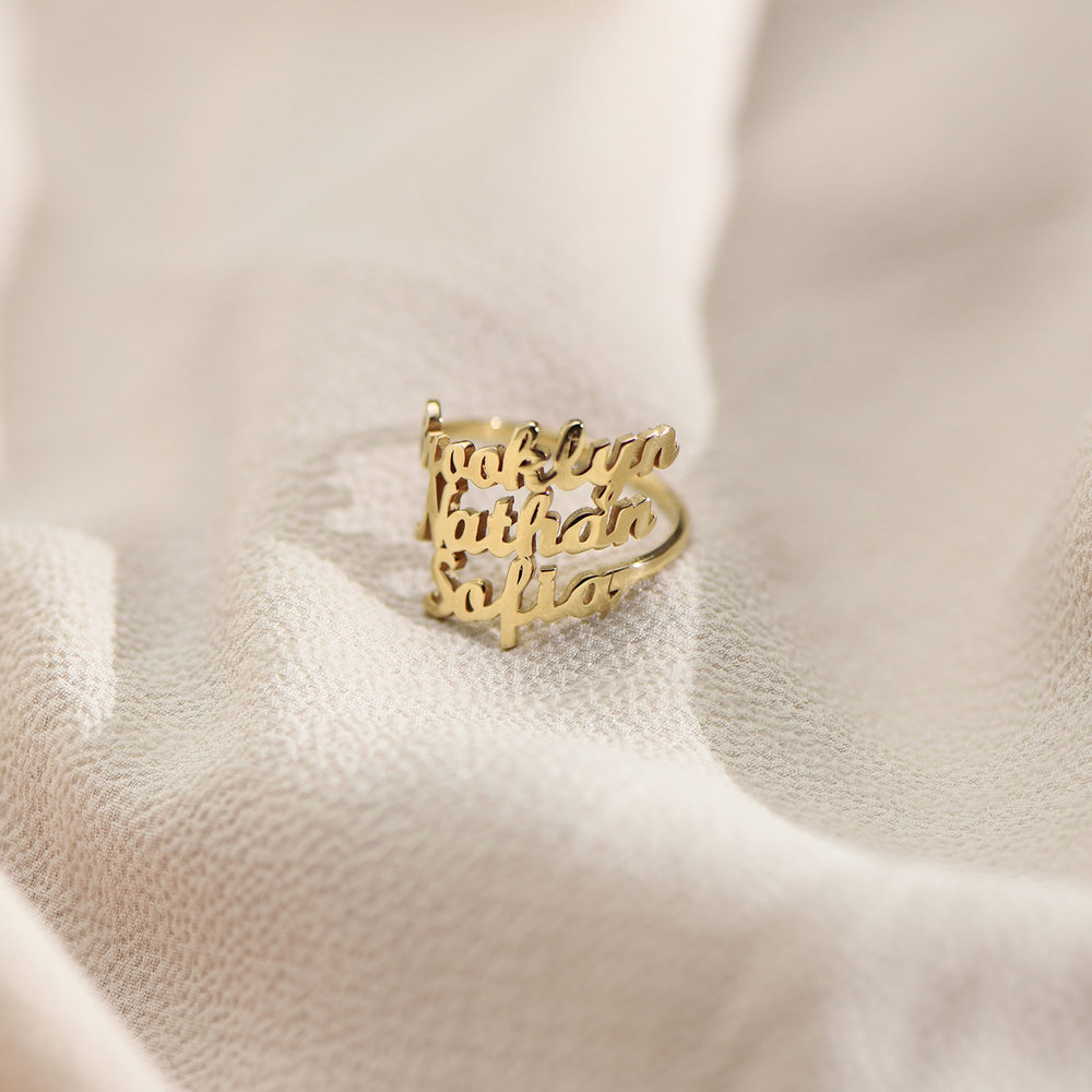 Three's a Charm Name Ring - Gold Plated - 2