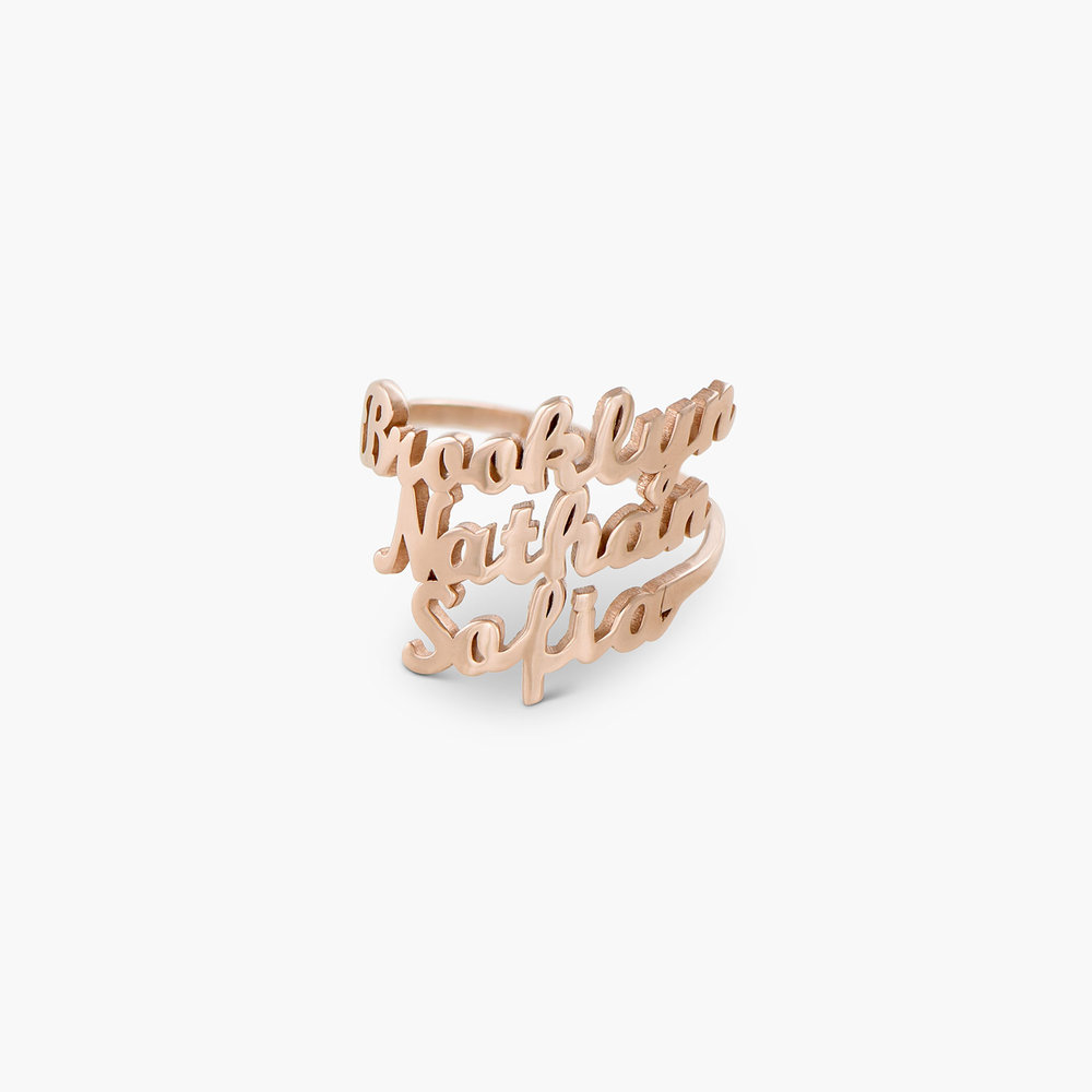 Three's a Charm Name Ring - Rose Gold Plated