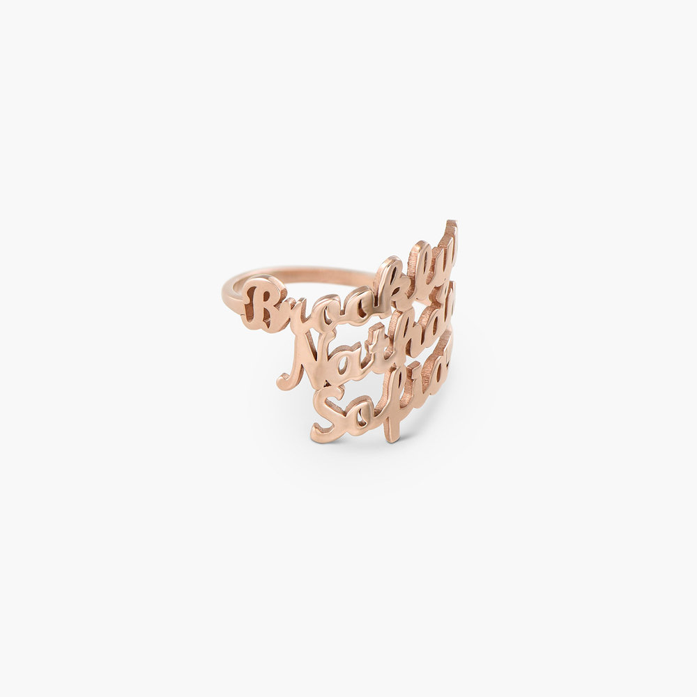 Three's a Charm Name Ring - Rose Gold Plated - 1