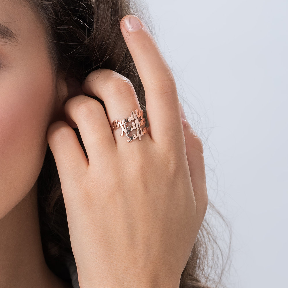 Three's a Charm Name Ring - Rose Gold Plated - 3
