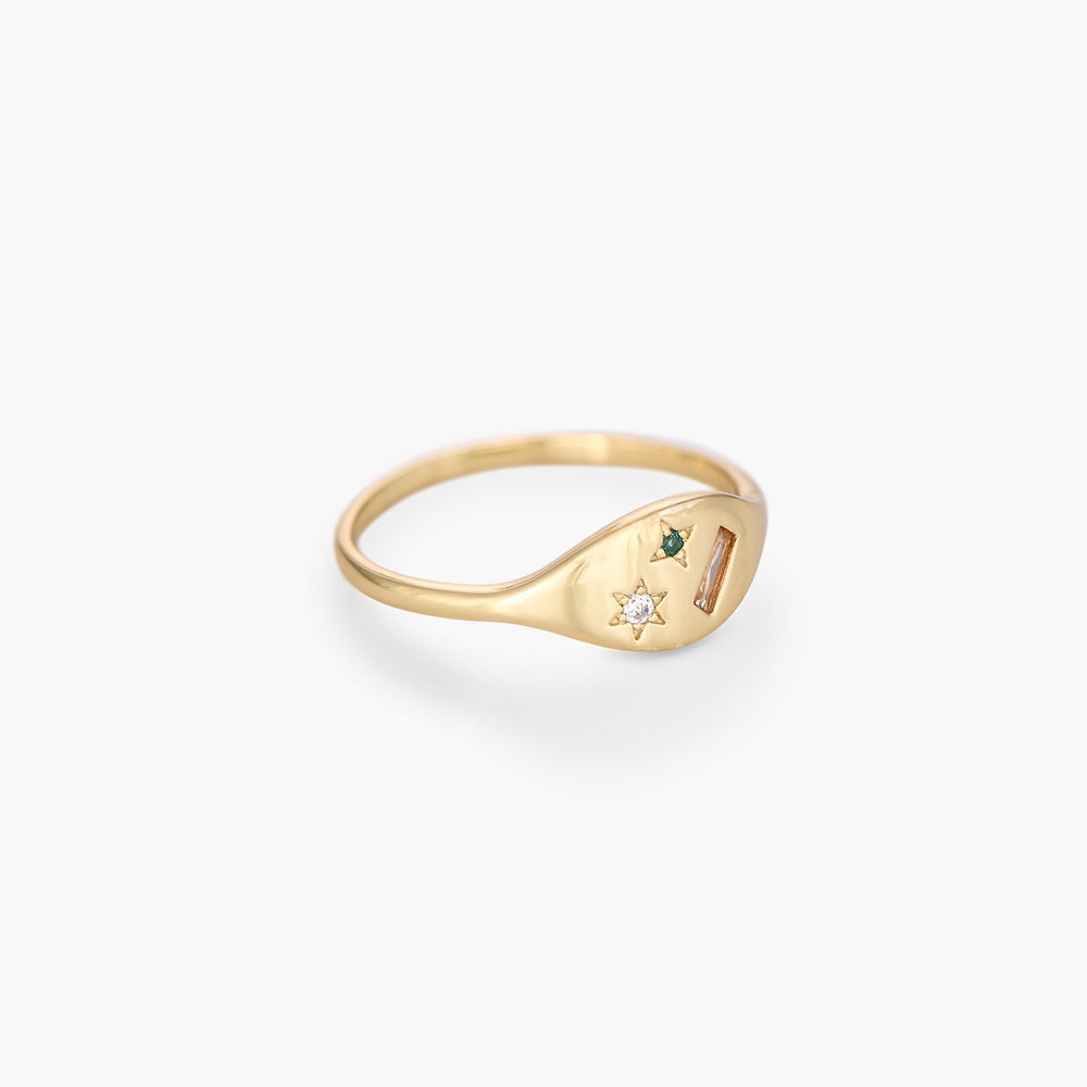 Elipse Ring with Stars - Gold Plated - 1