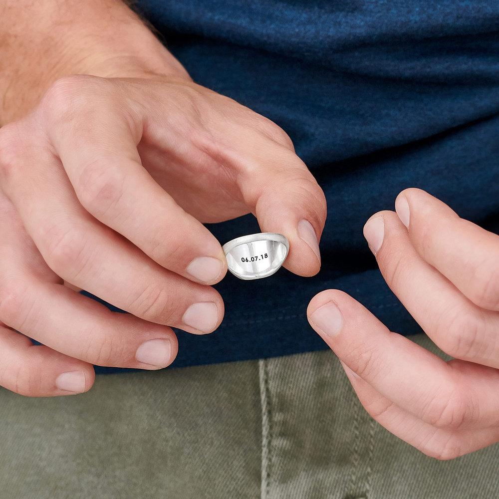 Mustang Steel Signet Ring - Silver - 3