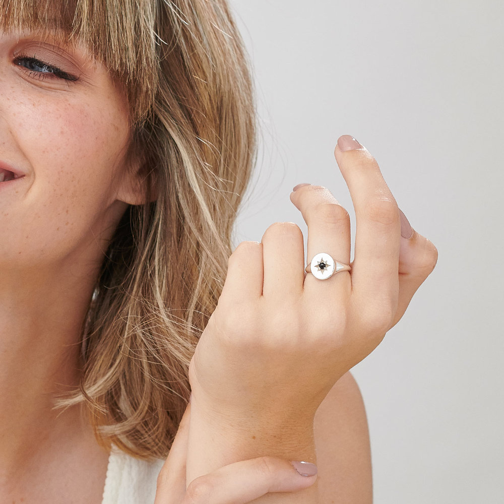 North Star Signet Ring  - Sterling Silver - 3