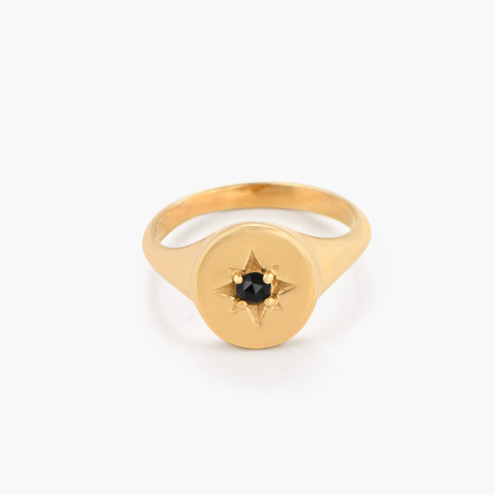 North Star Signet Ring  - Gold Plated