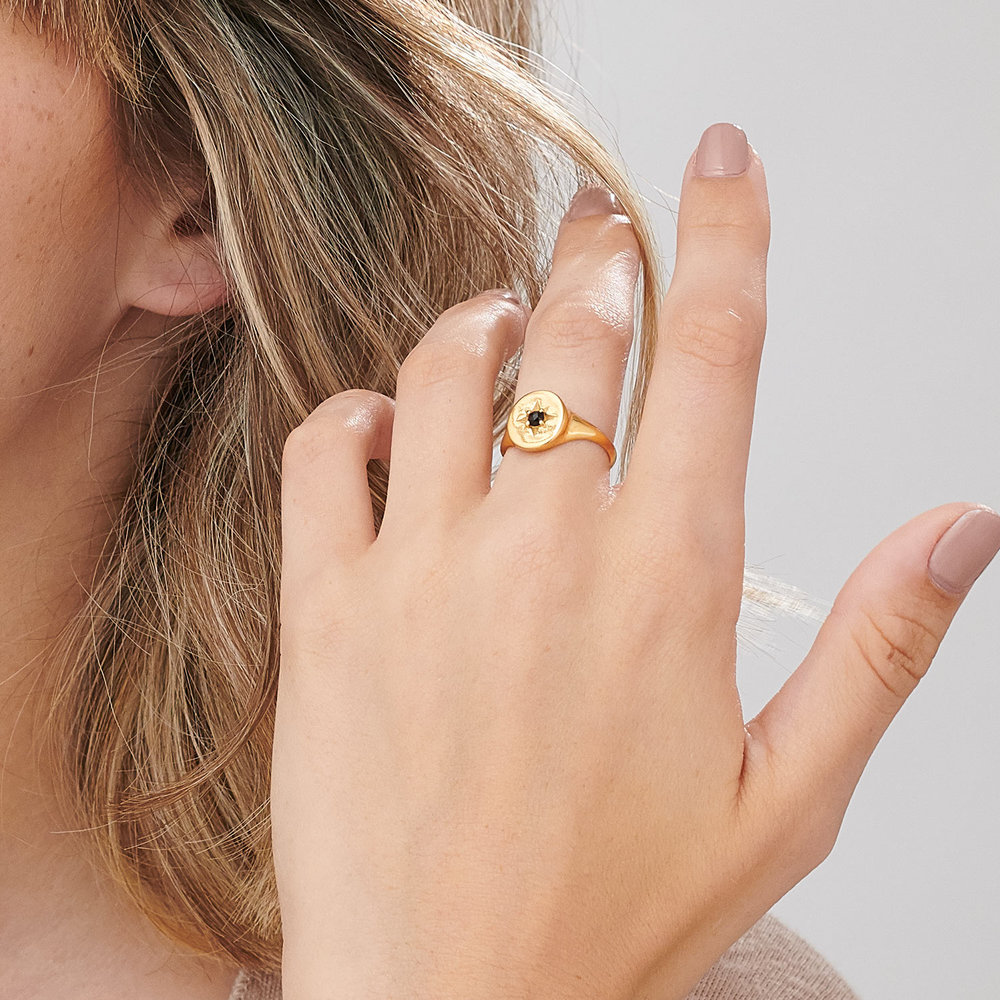 North Star Signet Ring  - Gold Plated - 3