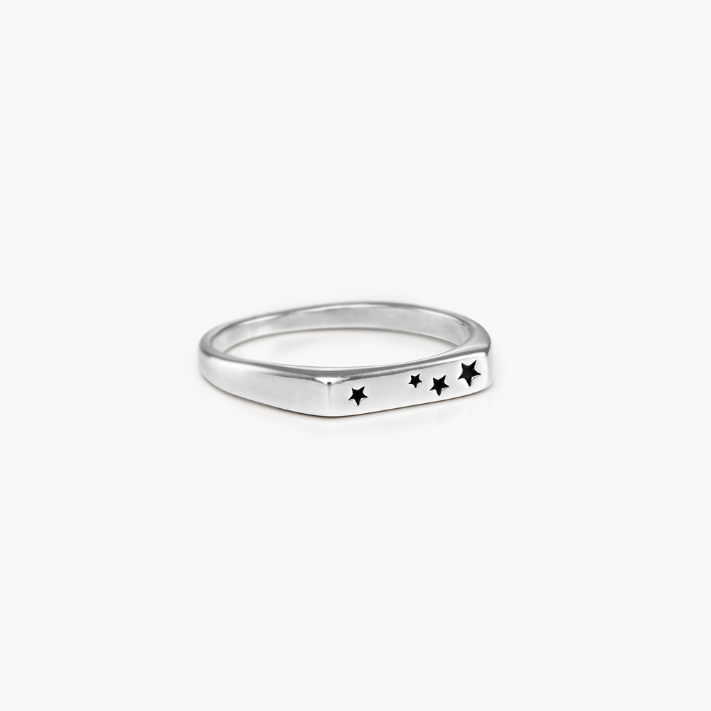 Galaxy Thin Signet Ring - Sterling Silver - 1