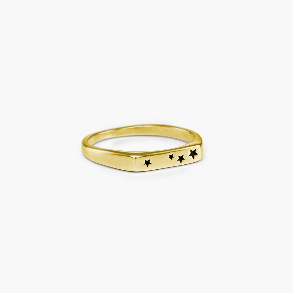 Galaxy Thin Signet Ring - Gold Plated - 1