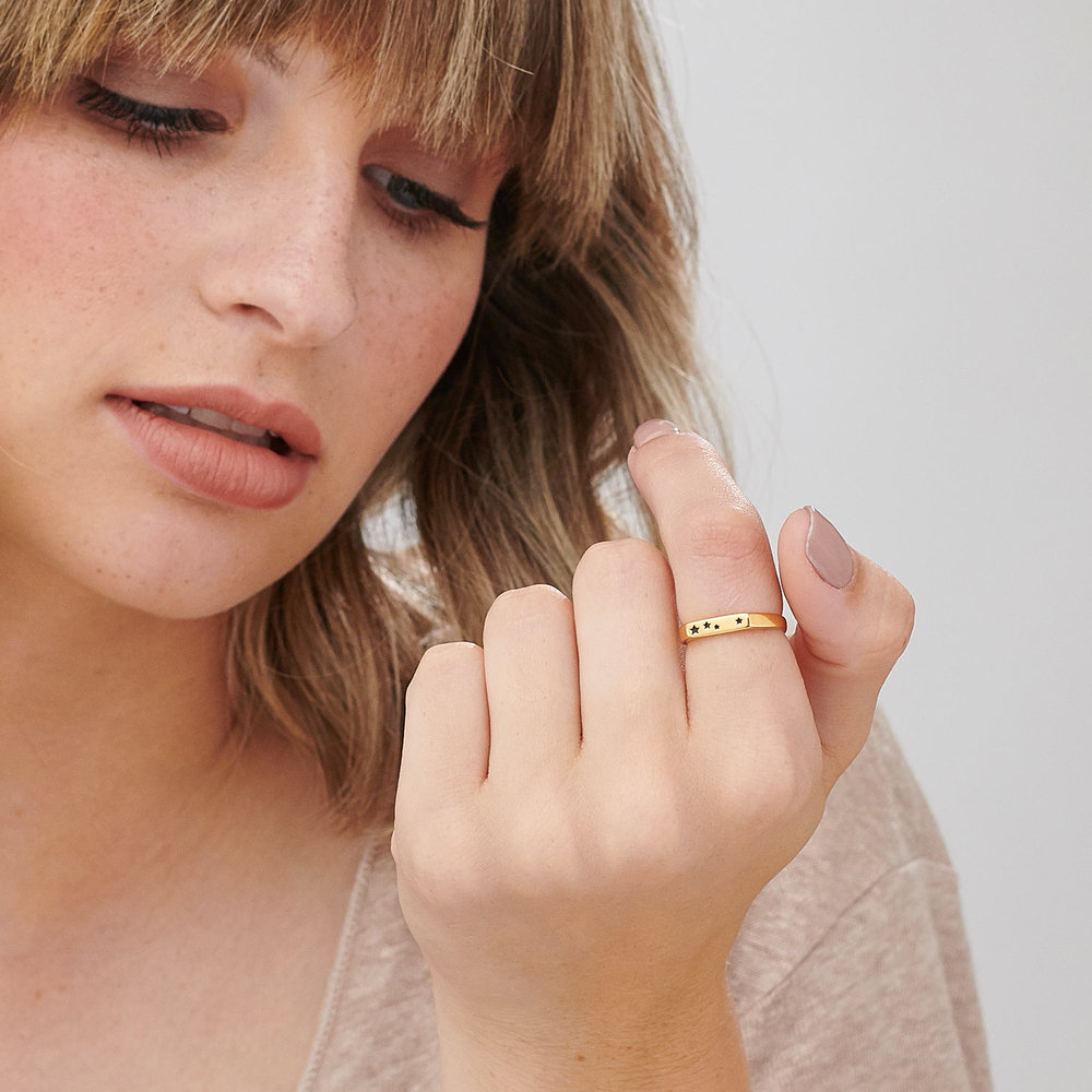 Galaxy Thin Signet Ring - Gold Plated - 3