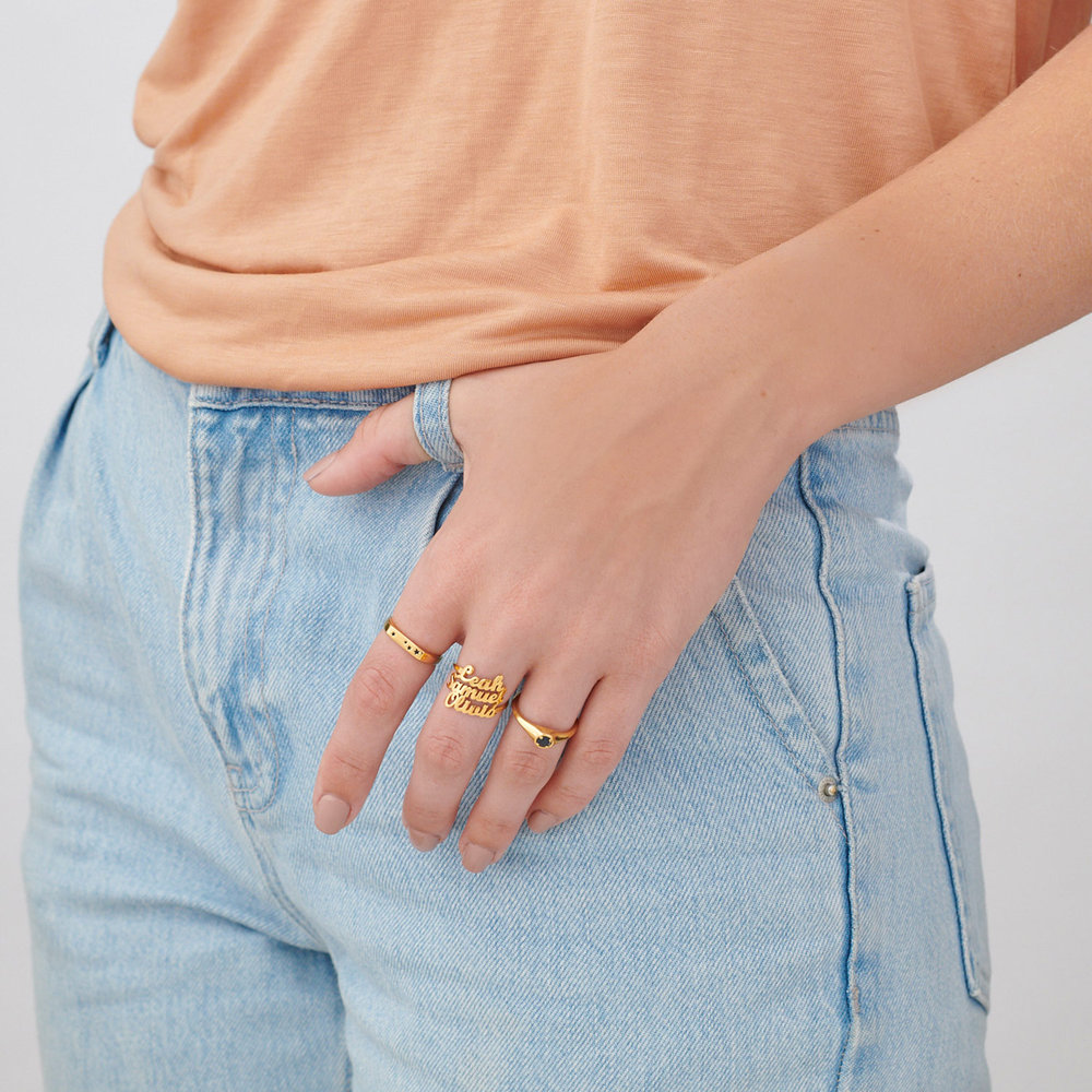 Galaxy Thin Signet Ring - Gold Plated - 4