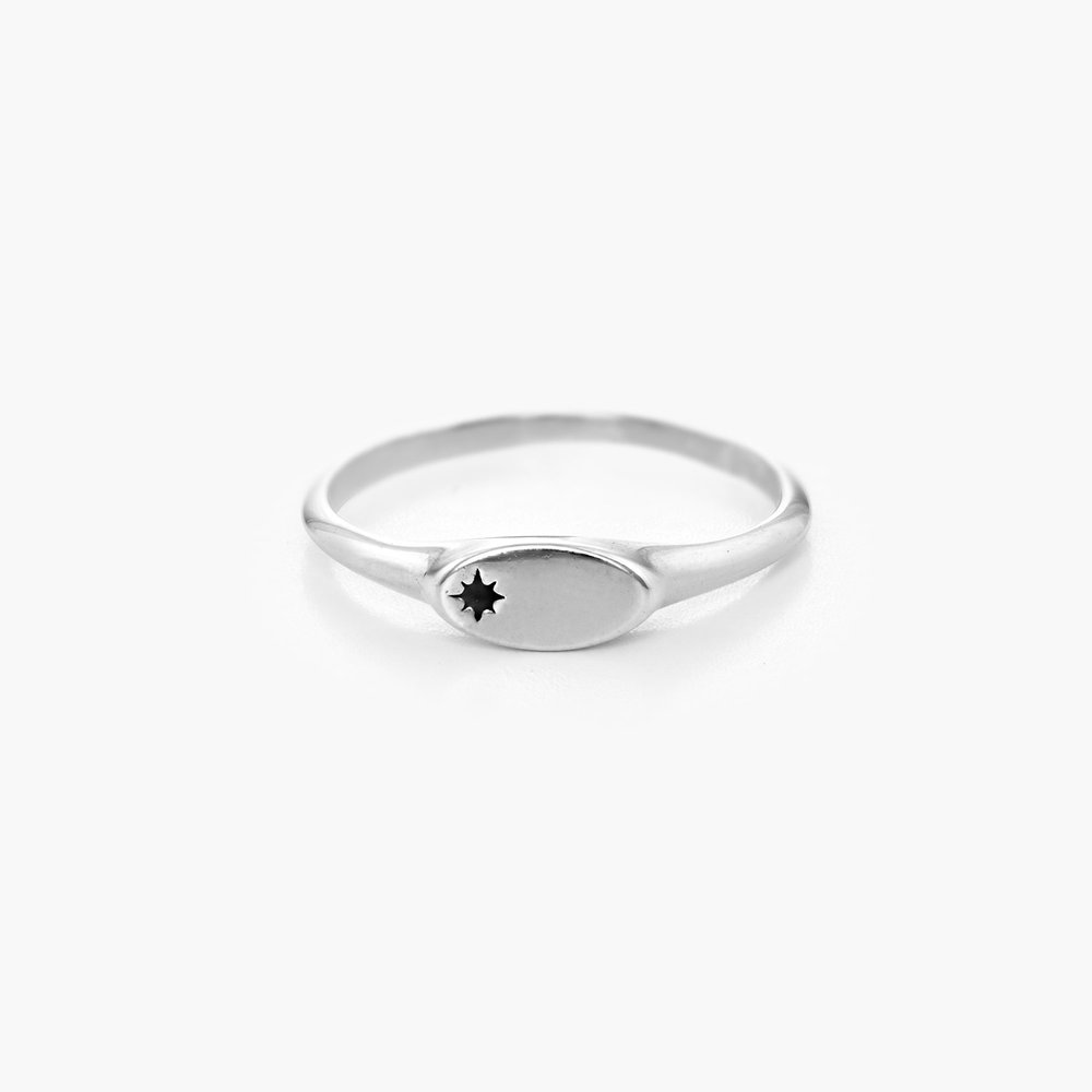 Wanderlust Thin Signet Ring - Sterling Silver