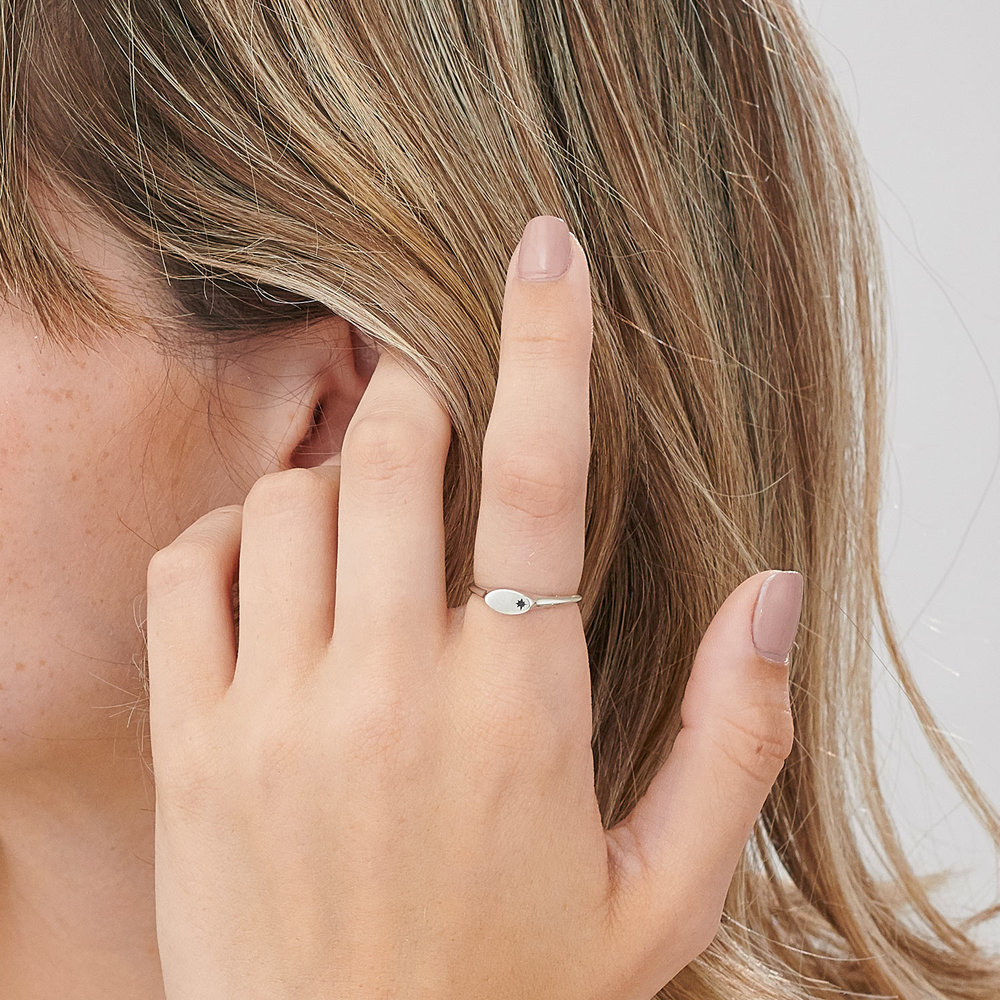 Wanderlust Thin Signet Ring - Sterling Silver - 3