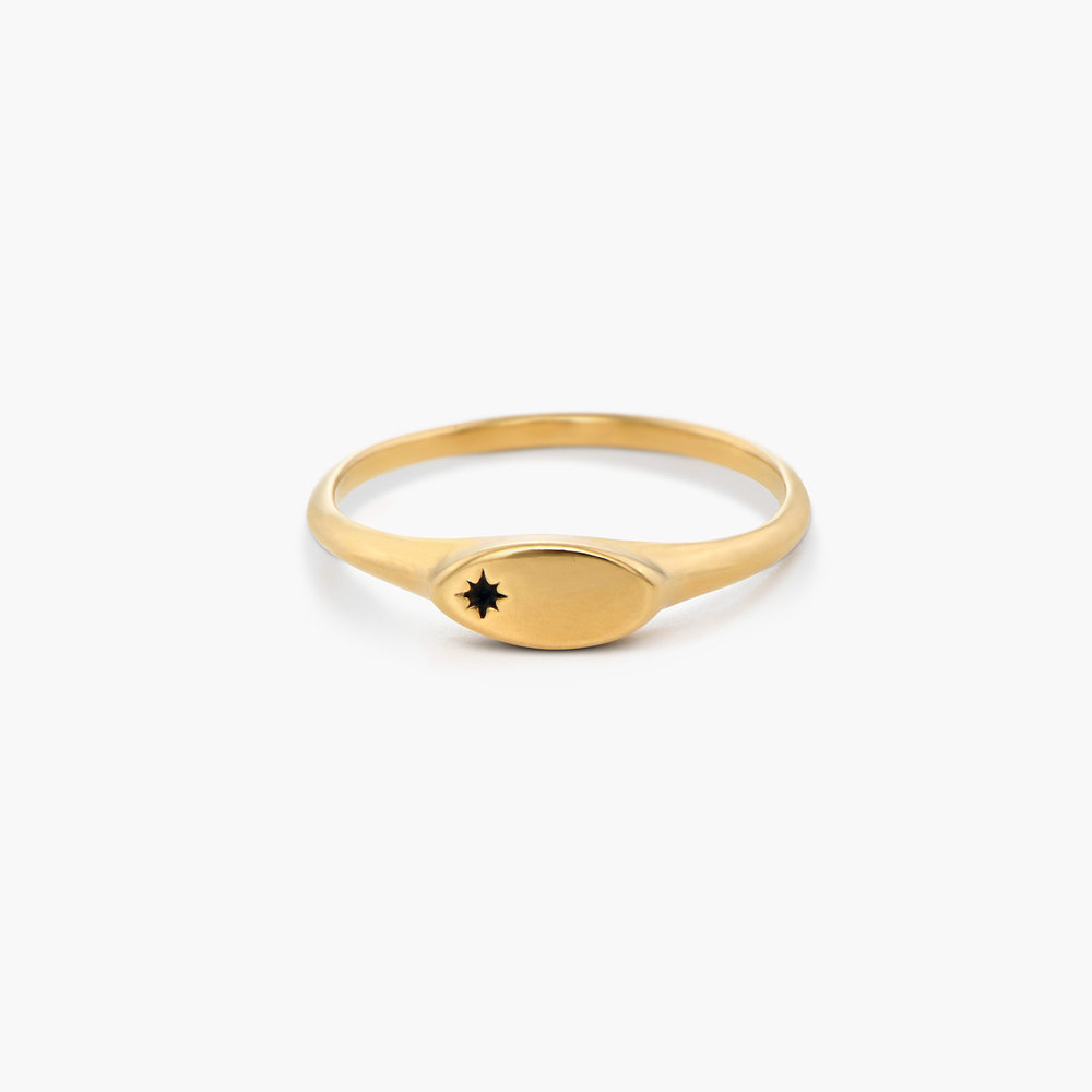 Wanderlust Thin Signet Ring - Gold Plated