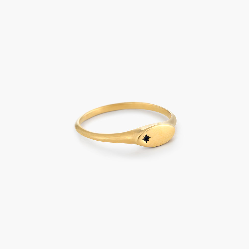 Wanderlust Thin Signet Ring - Gold Plated - 1