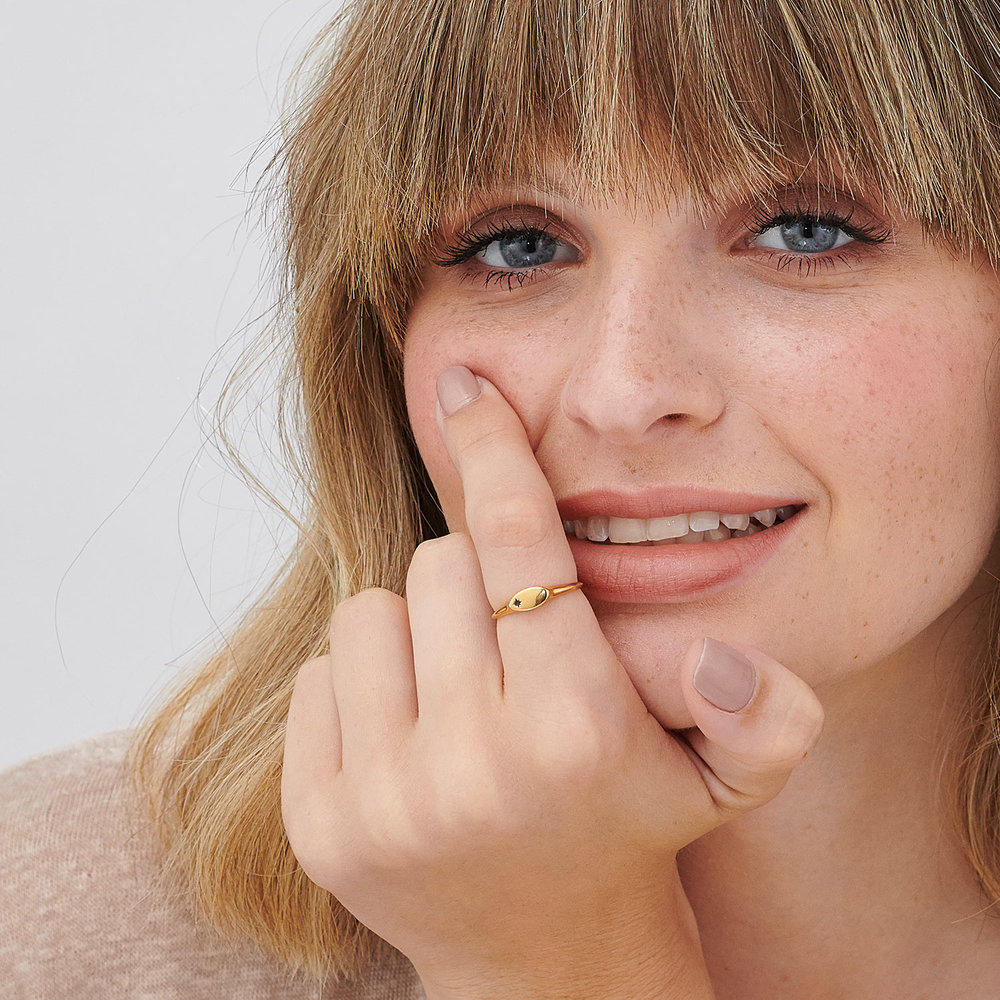 Wanderlust Thin Signet Ring - Gold Plated - 4