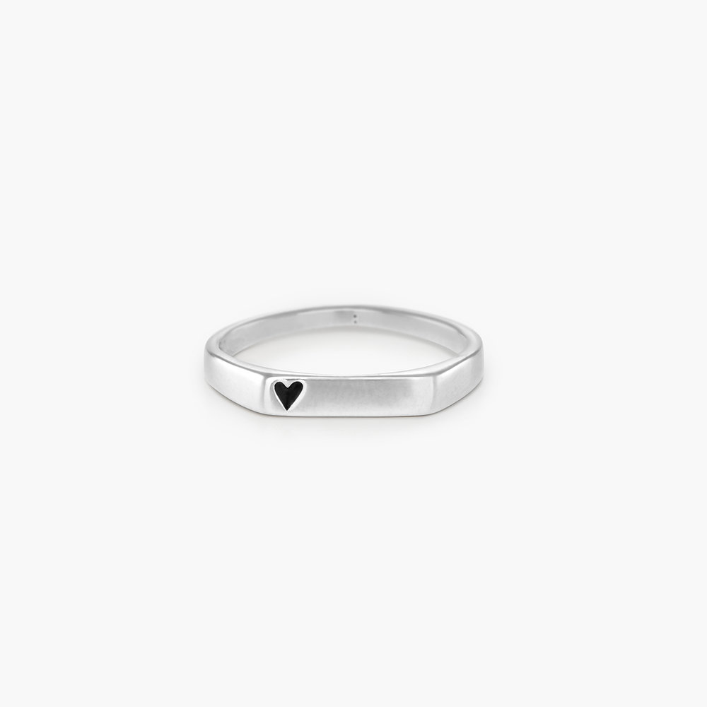 Echo Heart Thin Signet Ring - Sterling Silver