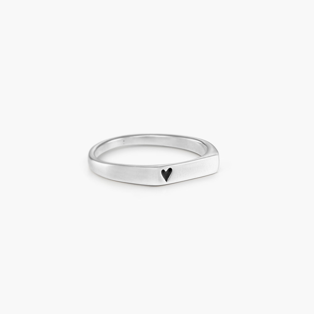 Echo Heart Thin Signet Ring - Sterling Silver - 1