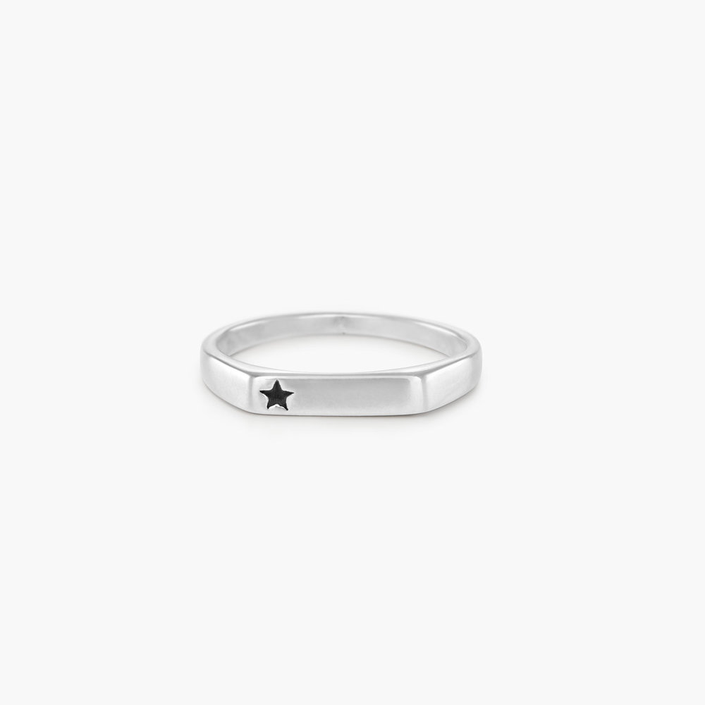 Celestial Thin Signet Ring - Sterling Silver