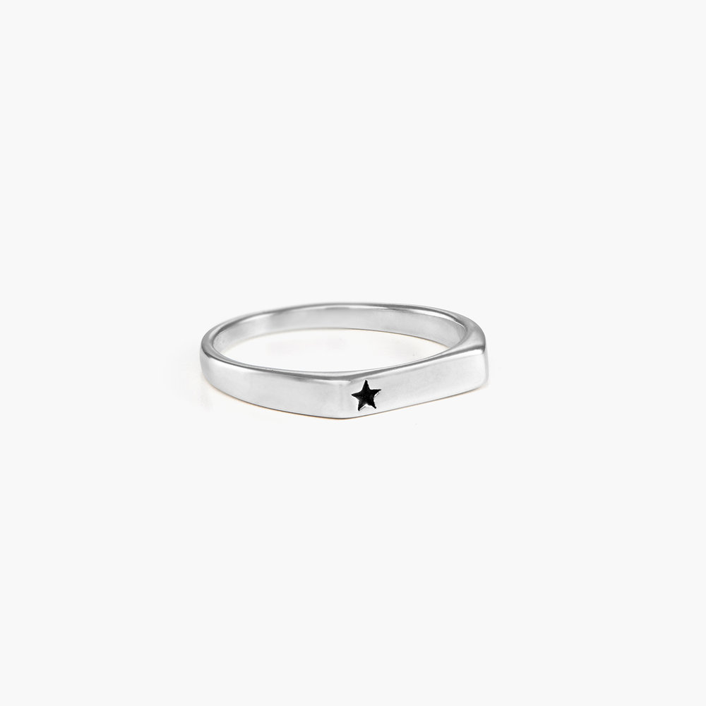 Celestial Thin Signet Ring - Sterling Silver - 1