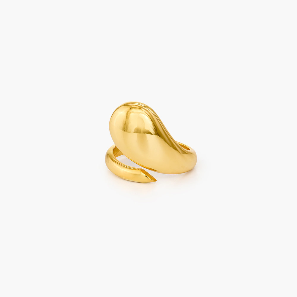 Tear Drop Open Ring - Gold Plated
