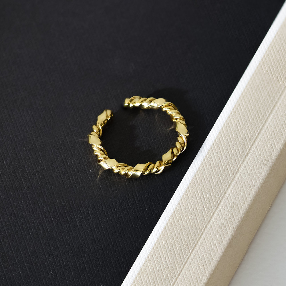Twisted Chain Link Ring Band - Gold Plated - 2