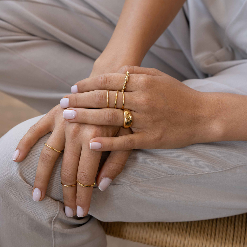 Twisted Chain Link Ring Band - Gold Plated - 3