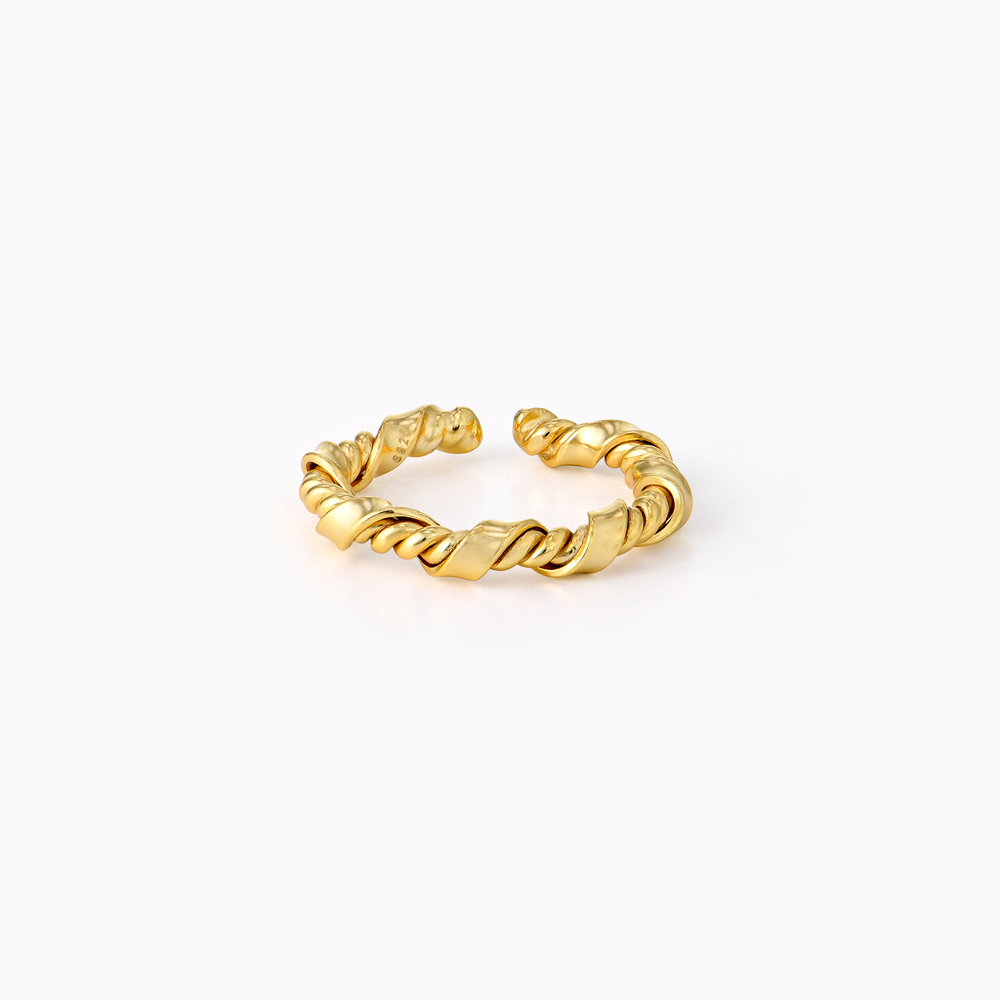 Twisted Chain Link Ring Band - Gold Vermeil
