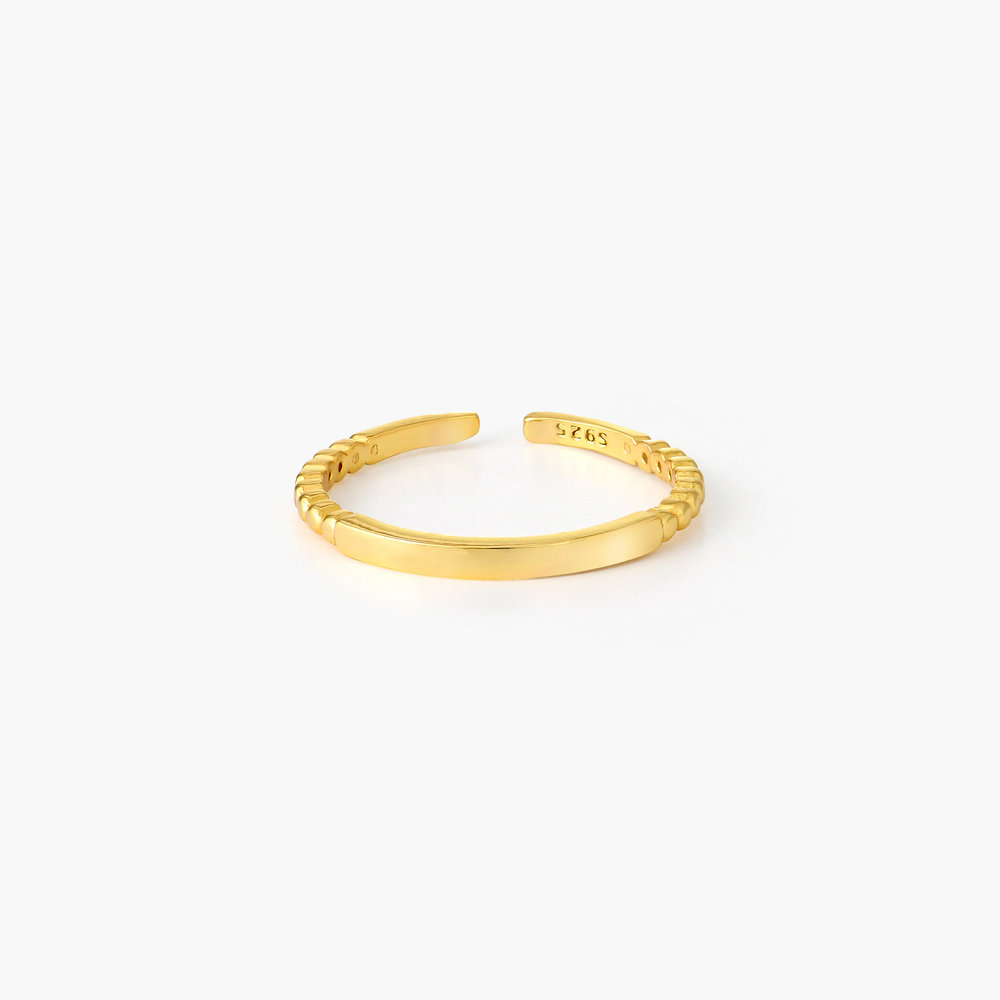 Bar Ring with Beaded Band - Gold Plated