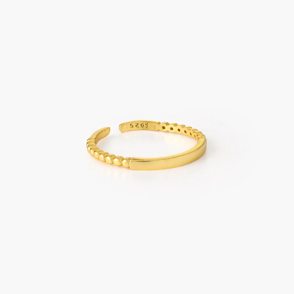 Bar Ring with Beaded Band - Gold Plated - 1