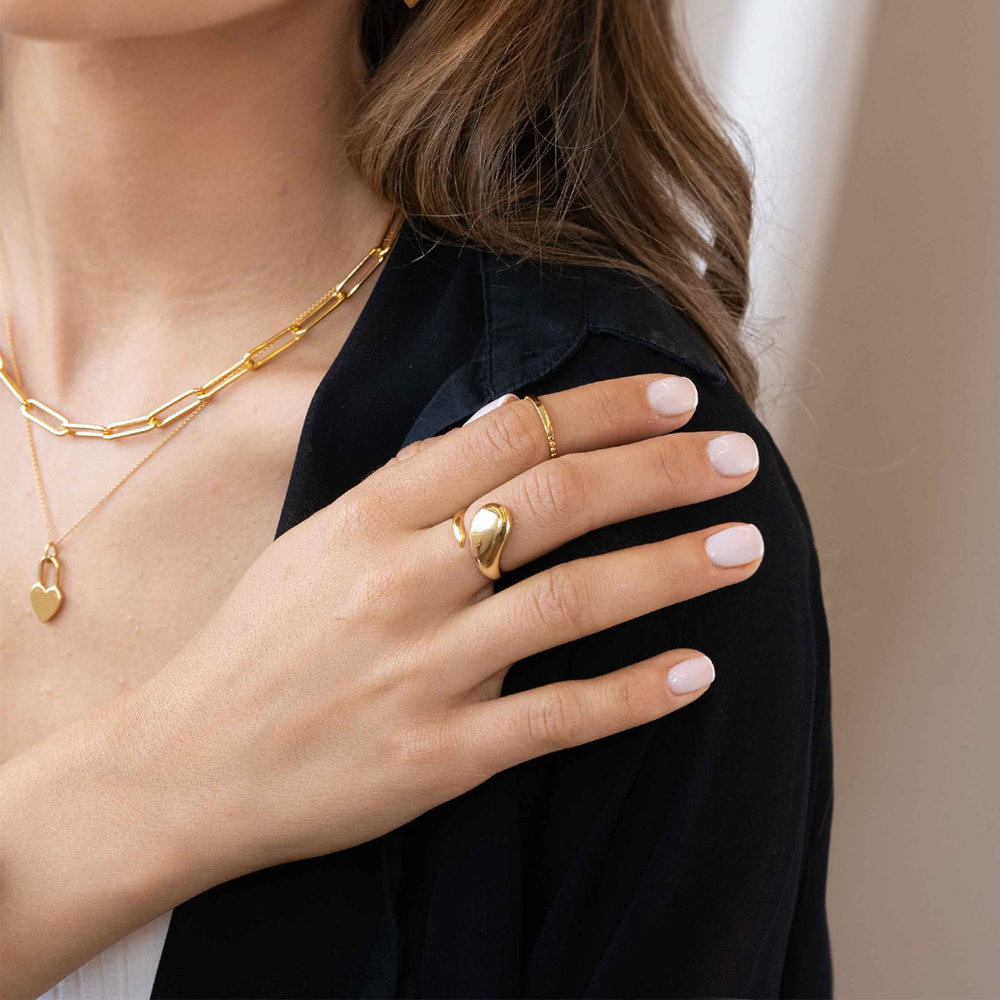 Bar Ring with Beaded Band - Gold Vermeil - 3
