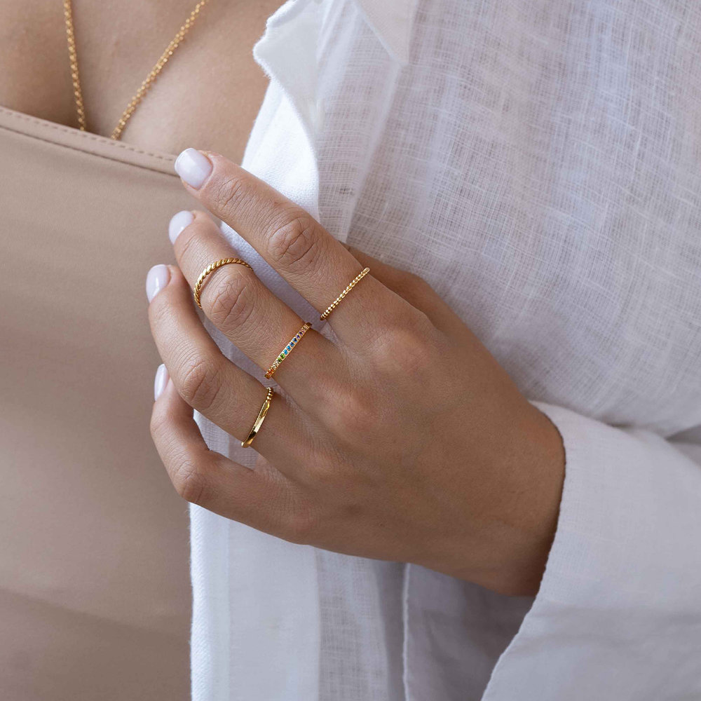 Braided Stackable Ring Band - Gold Plated - 2