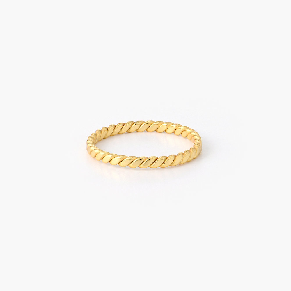 Braided Stackable Ring Band - Gold Vermeil