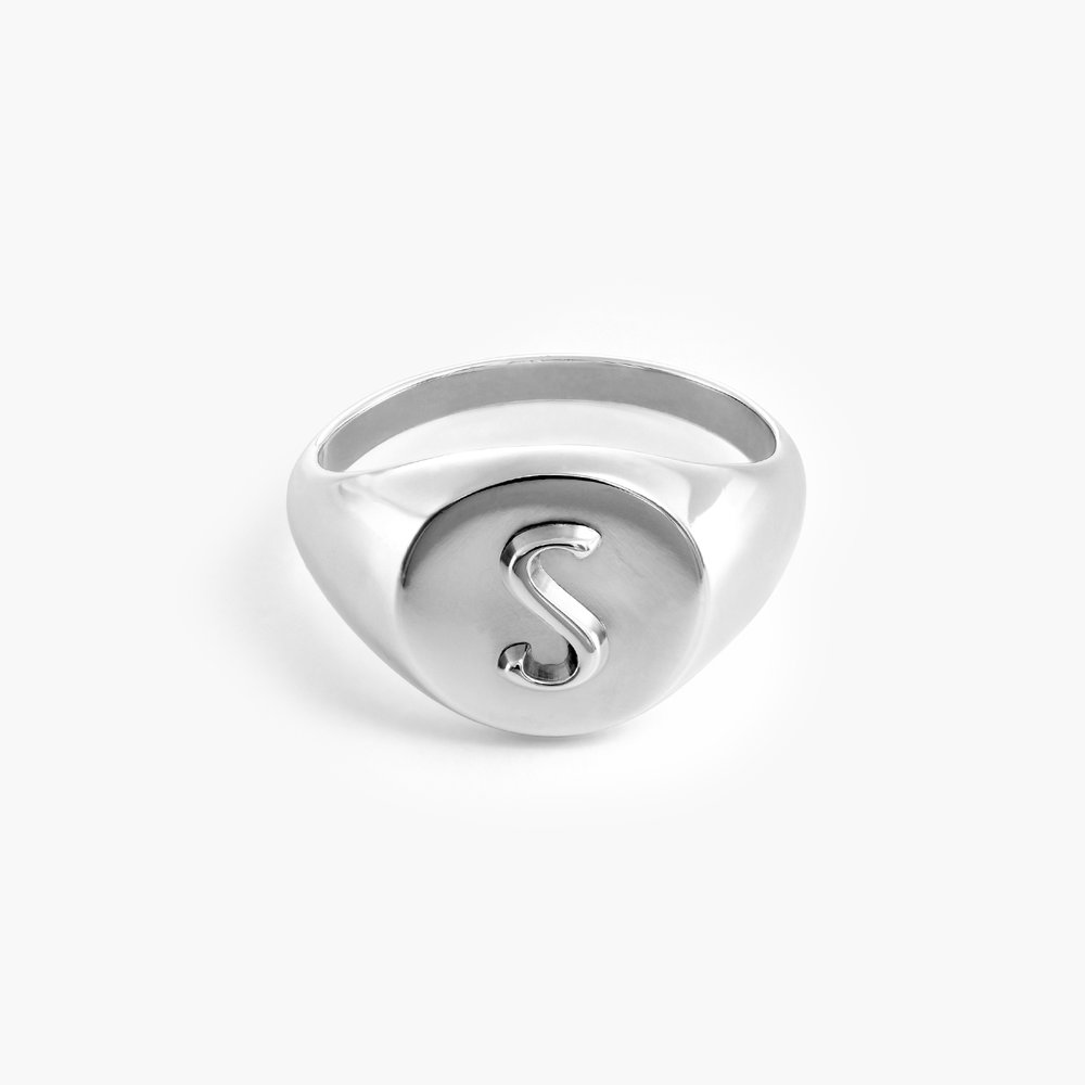 Ayla Round Initial Signet Ring - Sterling Silver