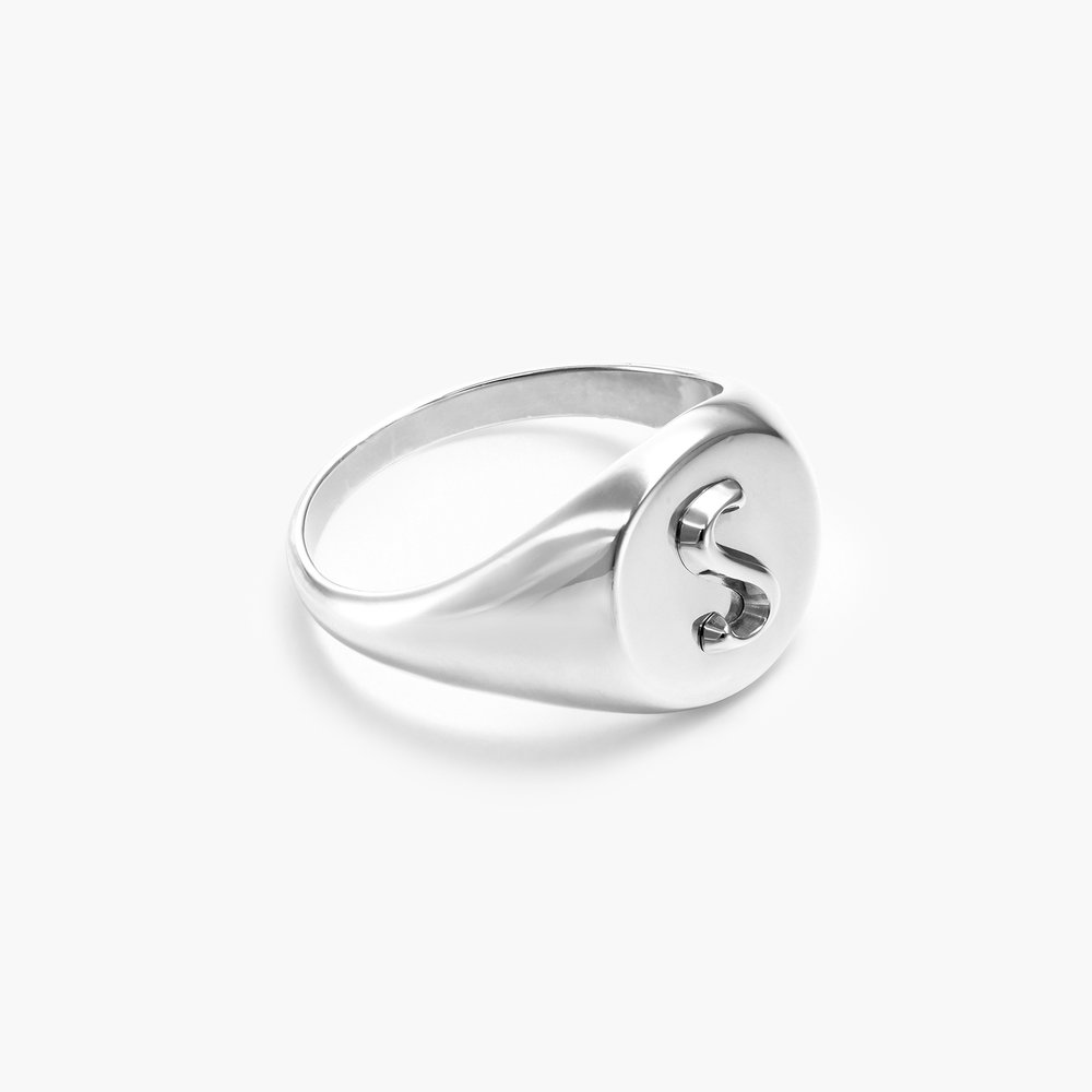 Ayla Round Initial Signet Ring - Sterling Silver - 1