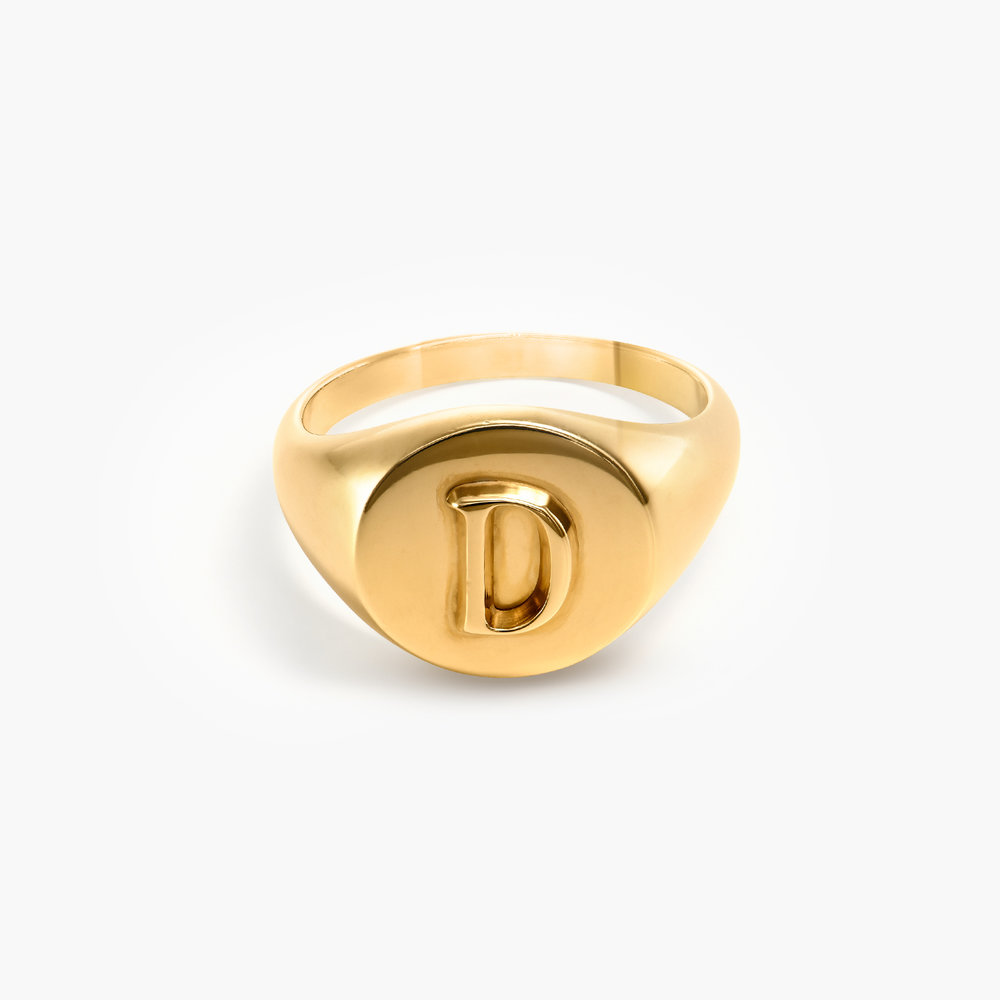 Ayla Round Initial Signet Ring - Gold Plating