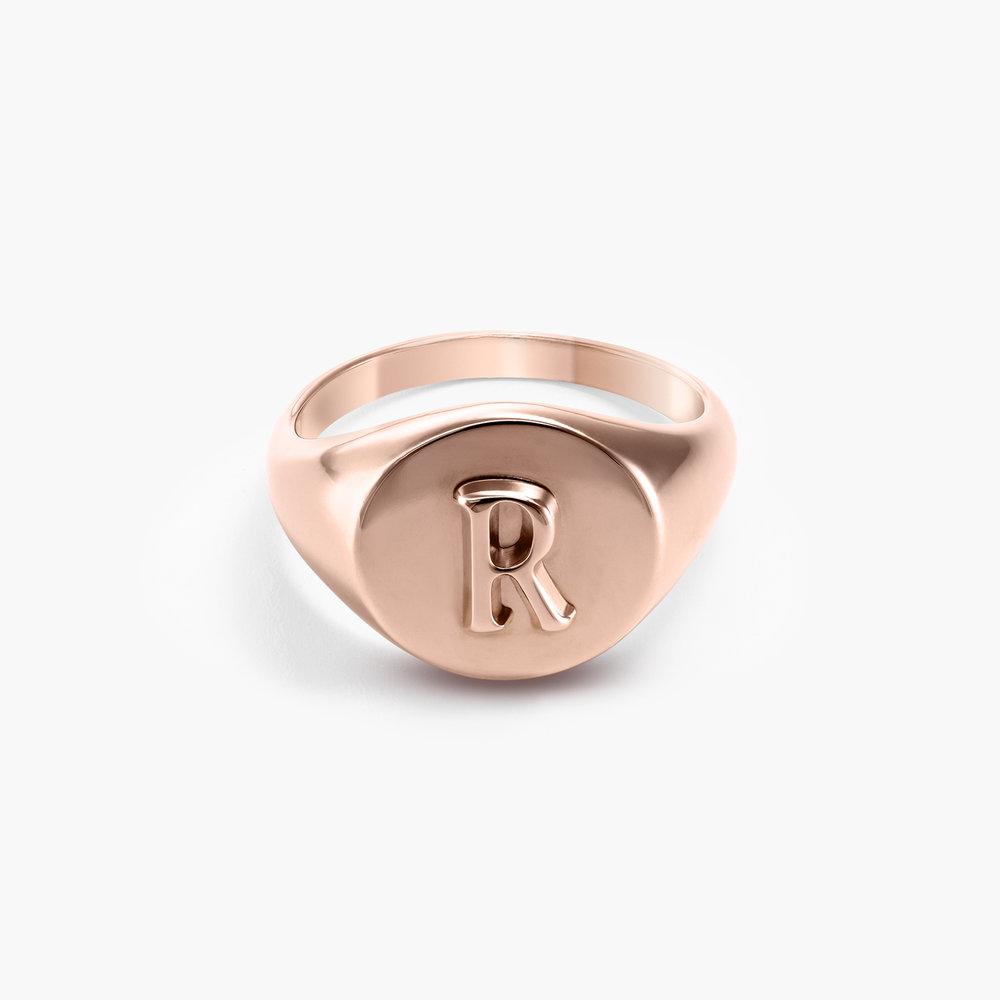 Ayla Round Initial Signet Ring - Rose Gold Plating