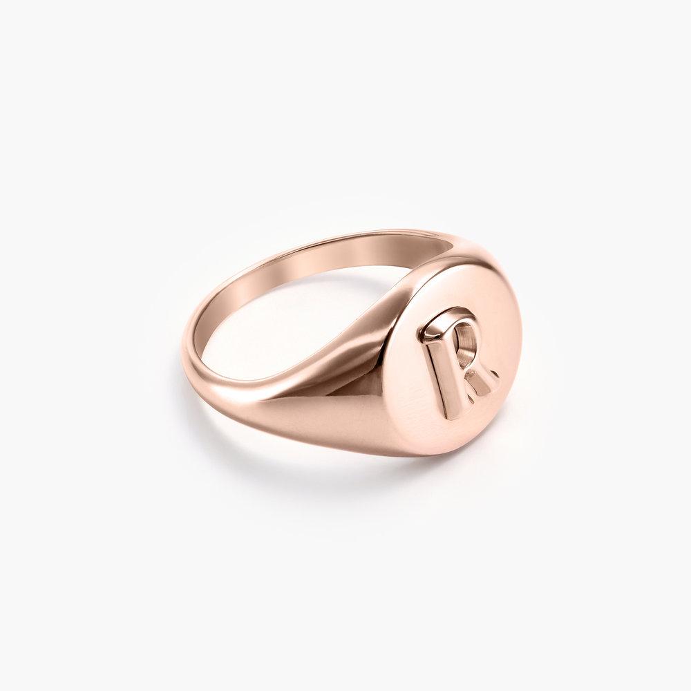 Ayla Round Initial Signet Ring - Rose Gold Plating - 1