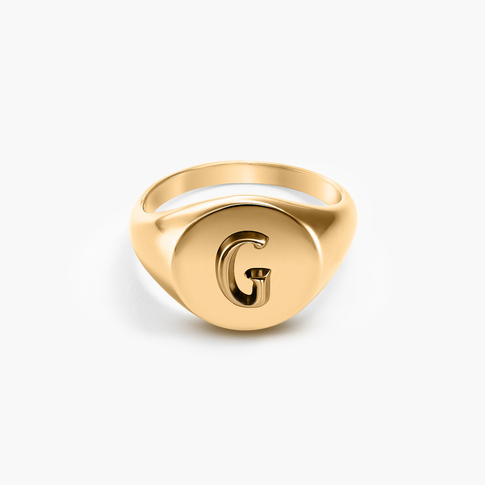 Ayla Round Initial Signet Ring - Gold Vermeil