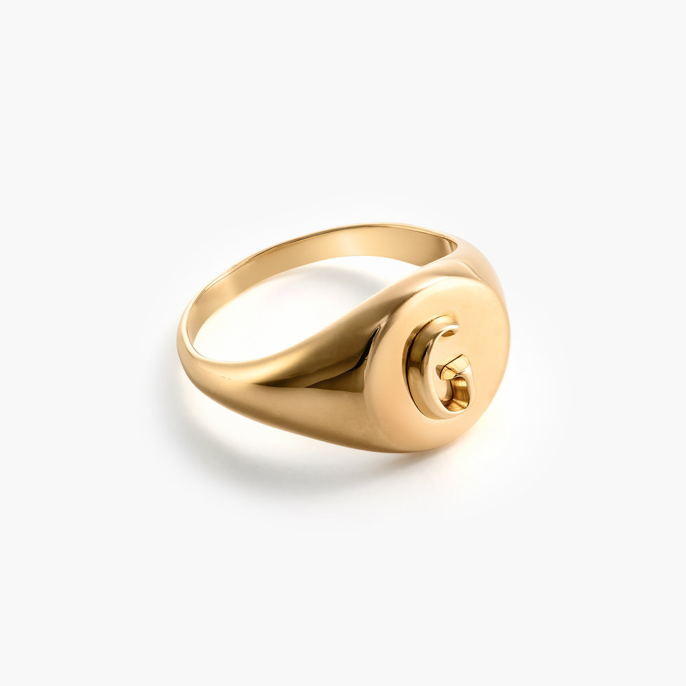Ayla Round Initial Signet Ring - Gold Vermeil - 1