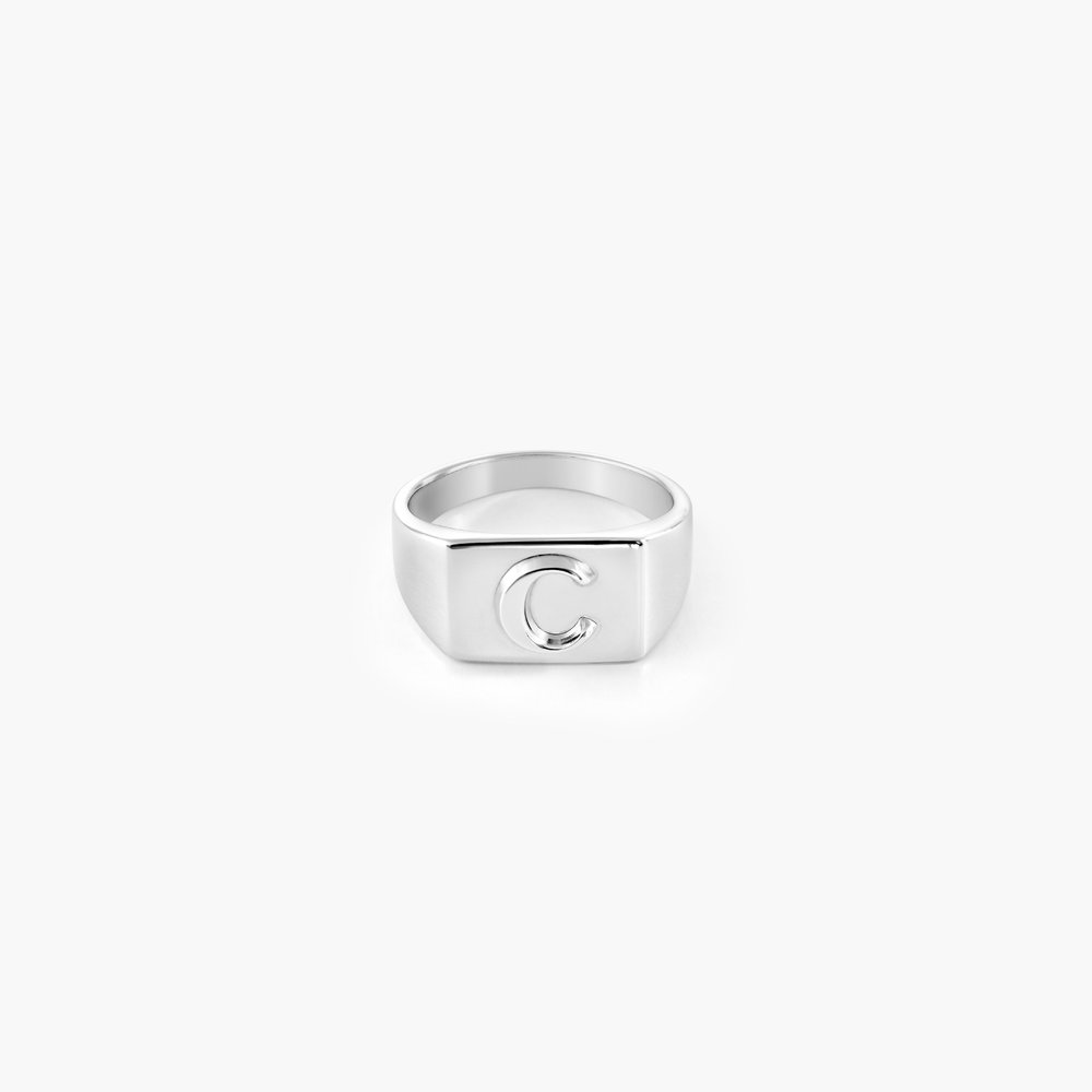 Ayla Square Initial Signet Ring - Sterling Silver