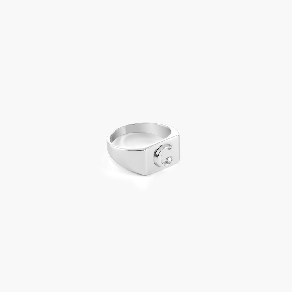 Ayla Square Initial Signet Ring - Sterling Silver - 1