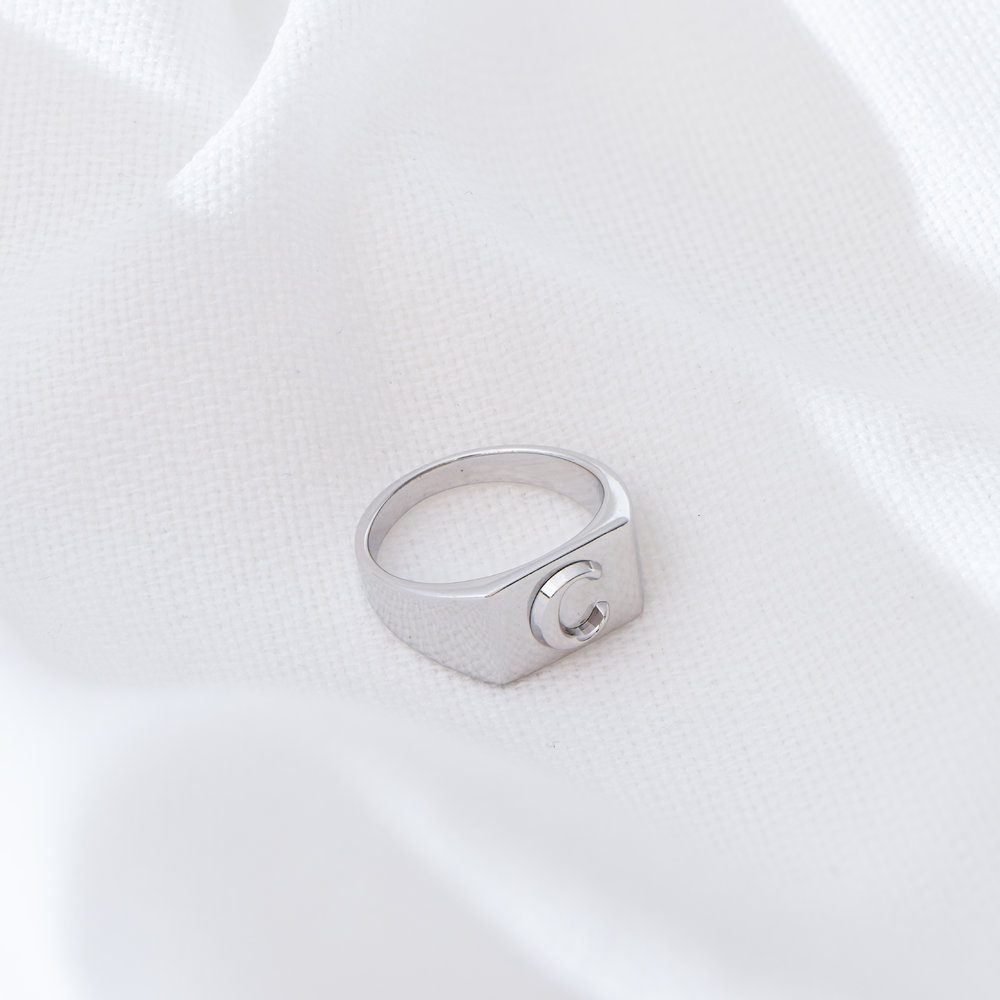 Ayla Square Initial Signet Ring - Sterling Silver - 2