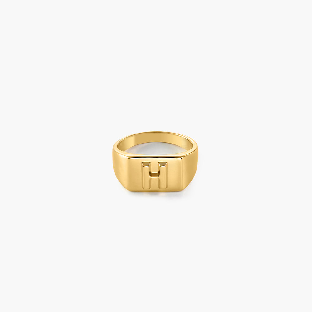 Ayla Square Initial Signet Ring - Gold Plating
