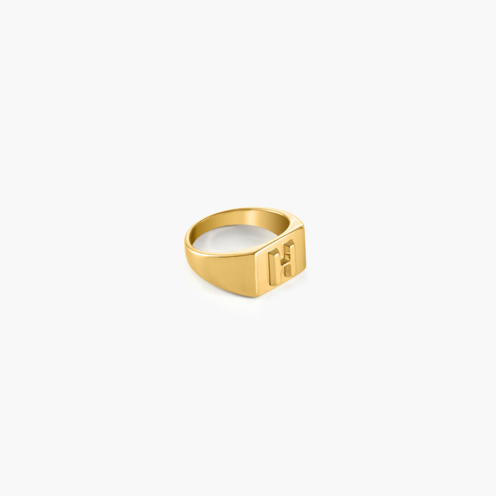 Ayla Square Initial Signet Ring - Gold Plating - 1