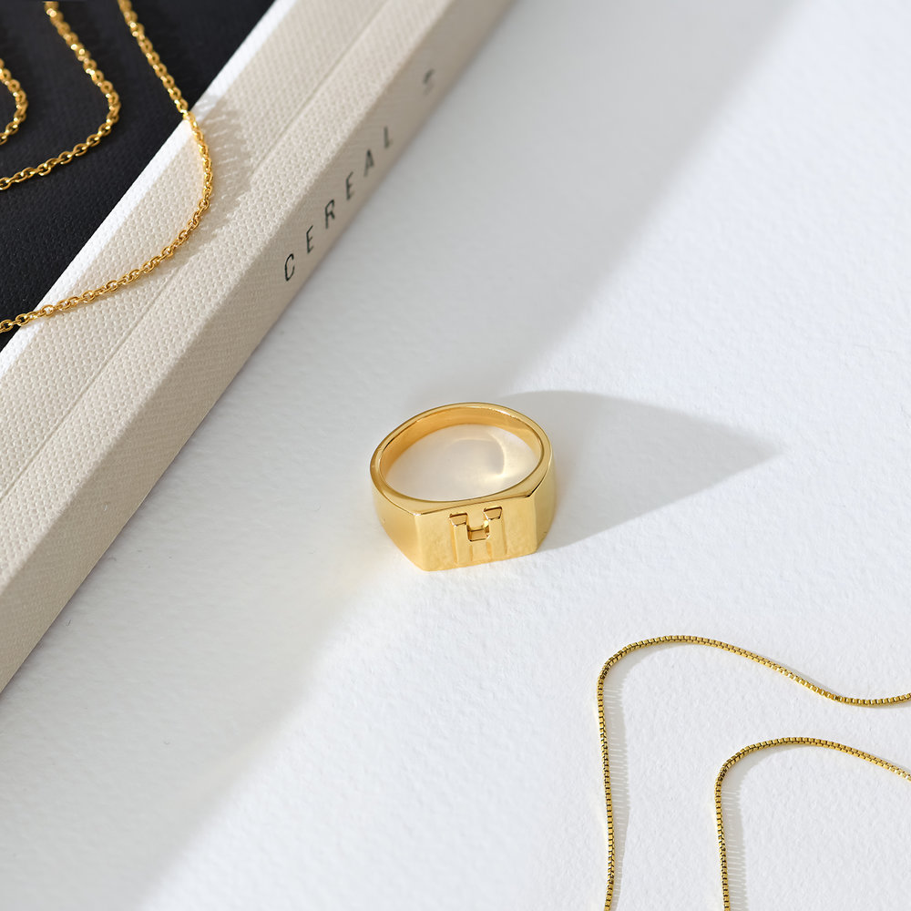 Ayla Square Initial Signet Ring - Gold Plating - 2