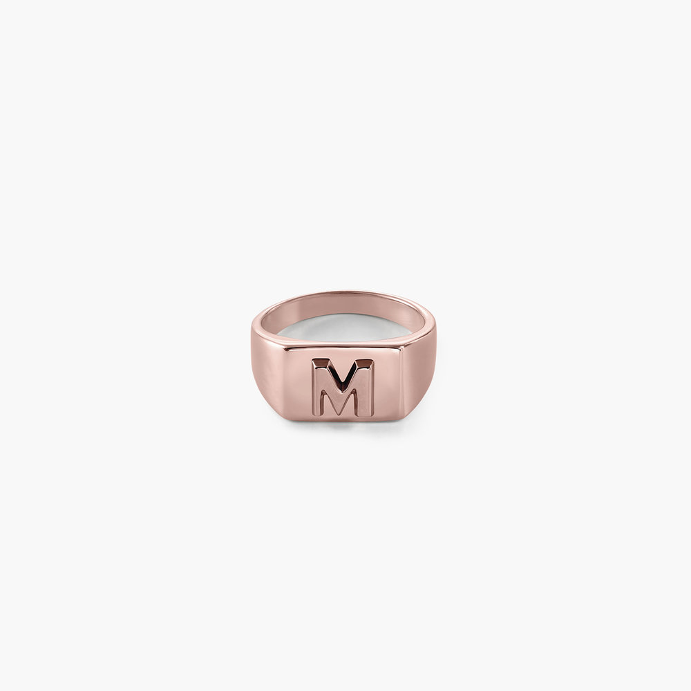 Ayla Square Initial Signet Ring - Rose Gold Plating