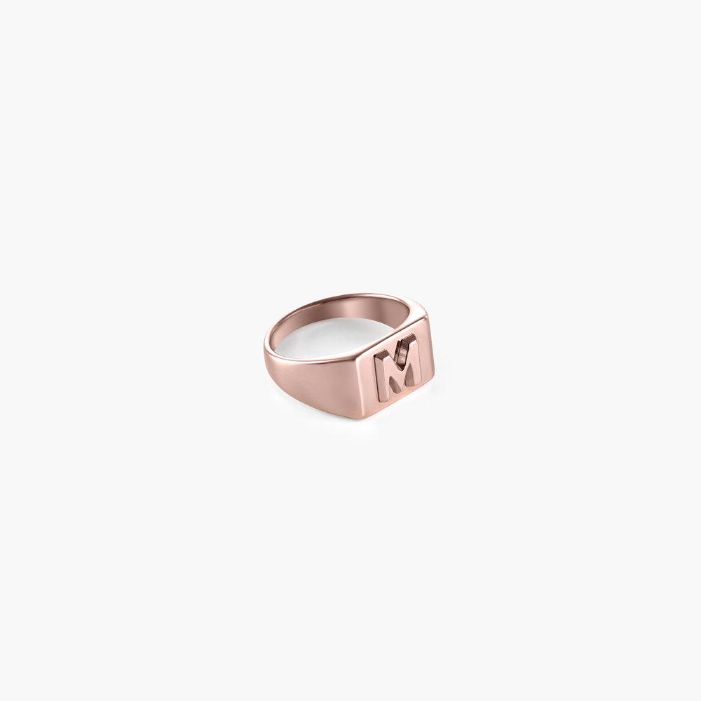 Ayla Square Initial Signet Ring - Rose Gold Plating - 1