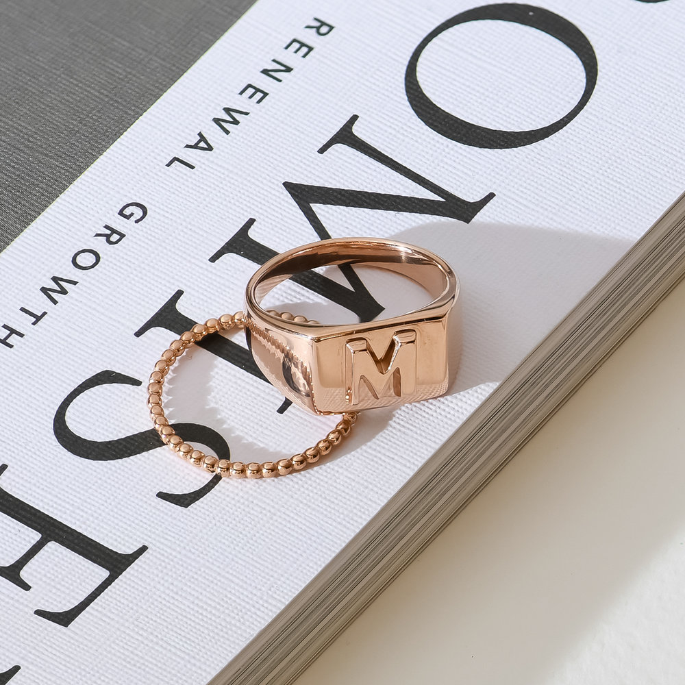 Ayla Square Initial Signet Ring - Rose Gold Plating - 2
